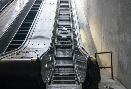 Escalator in a train station under repair