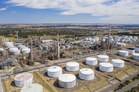 Aerial photo of an oil refinery