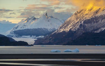 Grey Glacier and Grey Lake at Torres del Paine National Park Stock Photo