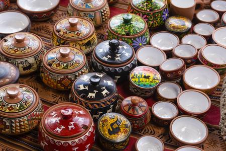 Ceramic pots and bowls for sale in a market near Machu Picchu in Peru Redakční