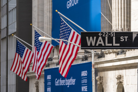 Wall Street sign near New York Stock Exchange