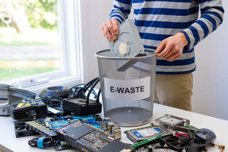 Melbourne, Australia - Jul 13, 2020: Collecting electronic waste for recycling
