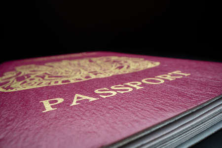Close-up view of British passport, shot with macro probe lens