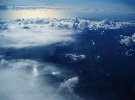 aerial animal: Peace and Serenity. An aerial view of clouds and oceans.
