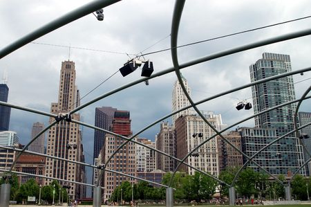 Chicago Skyline Seen Through Millenium Park