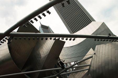 metal sculpture: Tiwsted metallo Scultura nel centro di Chicago Archivio Fotografico