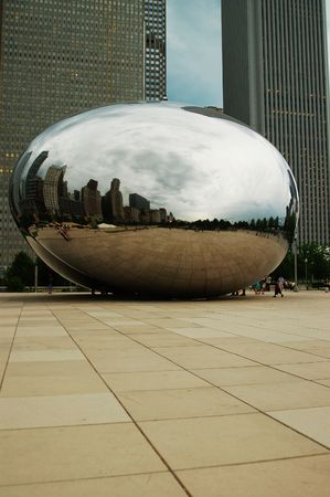 anish: Silver Bean Sculpture,  Chicago Stock Photo