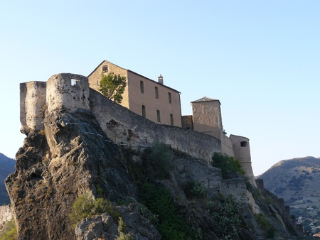 View of the citadel and the city of Corte in Corsica photo