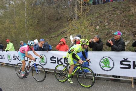 bardonecchia: Bardonecchia, ITALY - MAY 18  Vincenzo Nibali and Mauro Santambrogio at the end of the 14th stage of 2013 Giro d Italia on May 18, 2013 in Bardonecchia, Italy