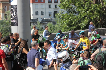 alberto: GRENOBLE, FRANCE - JUNE 13  Chris Froome and Alberto Contador starting stage 6 of Le Criterium du Dauphine UCI World Tour on June 13, 2014 in Grenoble, Isere, France  Jan Bakelants won the race  Editorial
