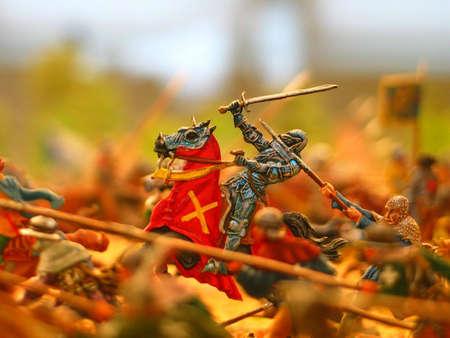 Toy soldier in a battle scene. photo