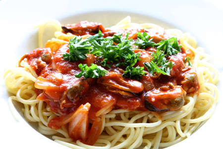 Plate of spaghetti with tomato sauce. Stock Photo - 2205858