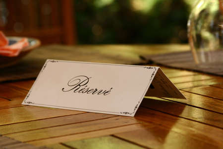 reserved: Reservation Card on a Table