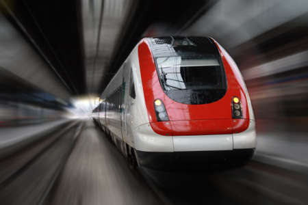 underground: Front Side Train with Blur Effect Stock Photo