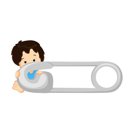 Bebé detrás el Pin de pañal