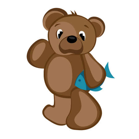 Bear Holding a Fish Vector