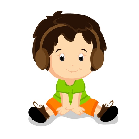 Baby Listening to the Music Stock Vector - 11491144