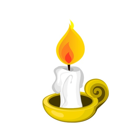 Candle and Holder Illustration