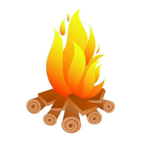 brandweer cartoon: Kampvuur Stock Illustratie