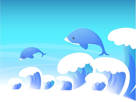 Dolphins in the Ocean Stock Vector - 13510080
