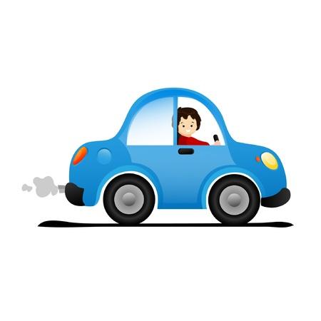 convertible car: Que conduce el coche Vectores