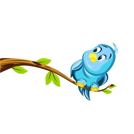 Fat Blue Bird Illustration