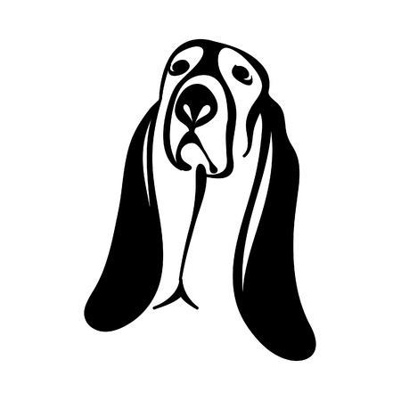 Basset Hound Tattoo Vector