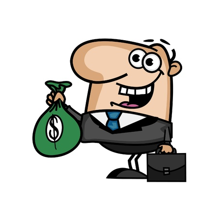 young business man: Business Man with a Money Bag
