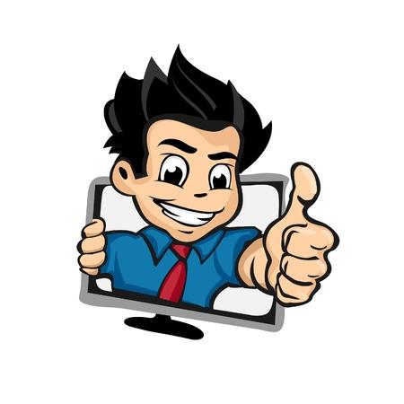 laptop mascot: IT Boy