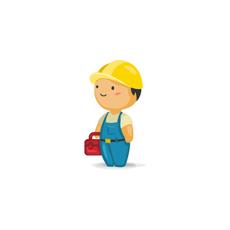 maintenance worker: Maintenance Worker with a Toolbox