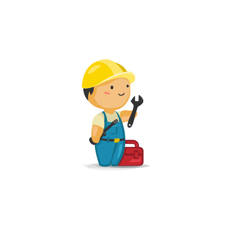 maintenance worker: Maintenance Worker with Tools