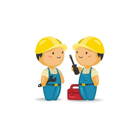 mantenimiento: Trabajadores de mantenimiento con herramientas