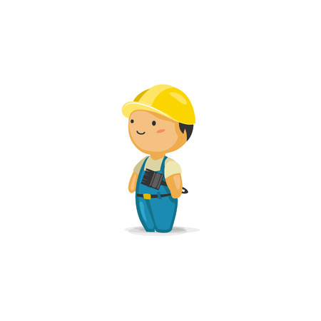 maintenance worker: Maintenance Worker with a Paint Brush Illustration