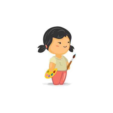 kid vector: Chica lindo de Chibi con un pincel y palets