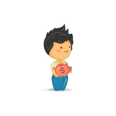 chibi: Cute Chibi Boy Holding a Piggy Bank