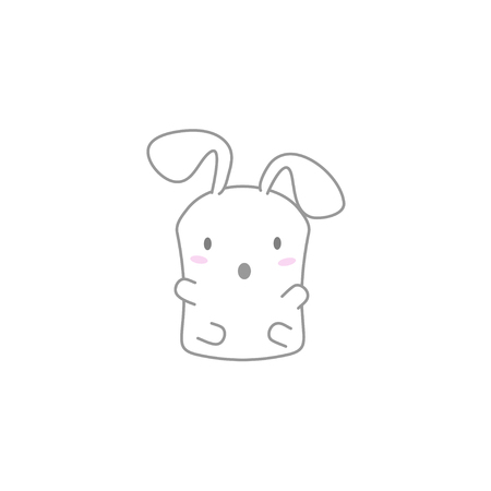 surprise face: Cute Kawaii Bunny with a Surprise Face Illustration