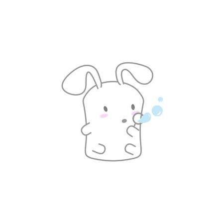 Cute Kawaii Bunny Blowing Bubbles