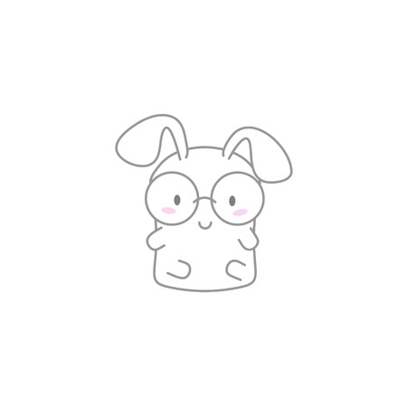 kawaii: Cute Kawaii Bunny with Glasses