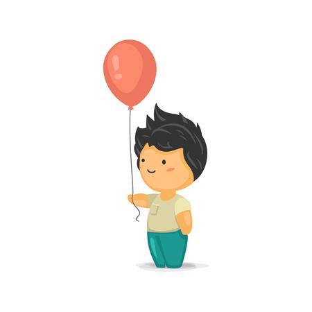 Cute Chibi Boy Holding a Balloon Illustration
