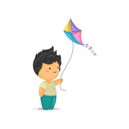 papalote: Chibi lindo Muchacho que sostiene una cometa Vectores