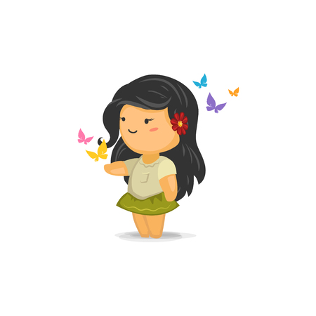 Cute Chibi Girl with Butterflies Illustration