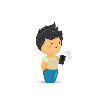 chibi: Cute Chibi Boy Holding a Mobile