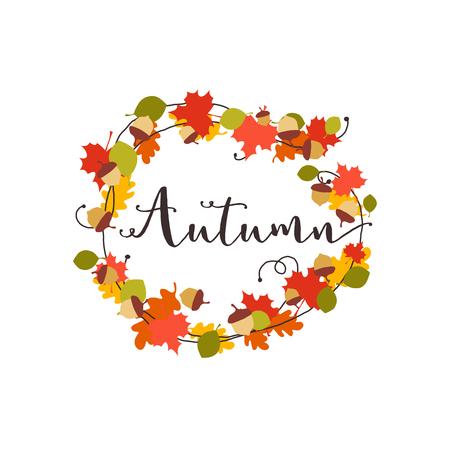 Autumn leaves and acorn wreath