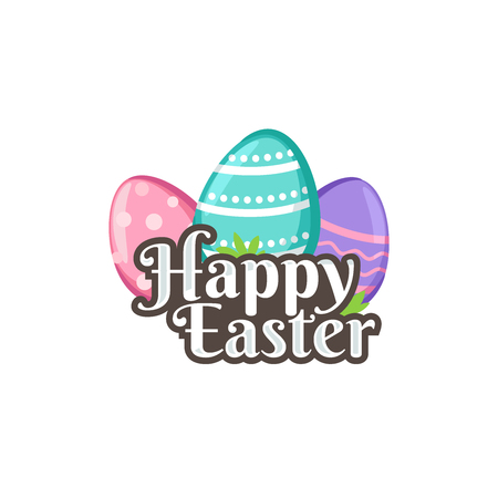 Happy Easter with easter eggs 矢量图像