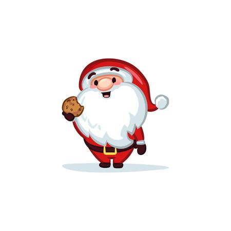 Christmas Vectors - Santa Claus Holding a Cookie 矢量图像