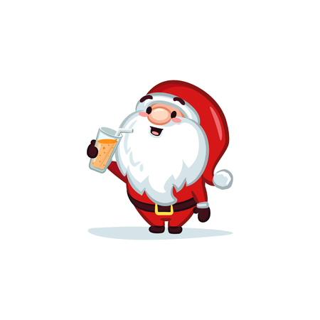 Christmas Vectors - Santa Claus Holding a Glass of Juice