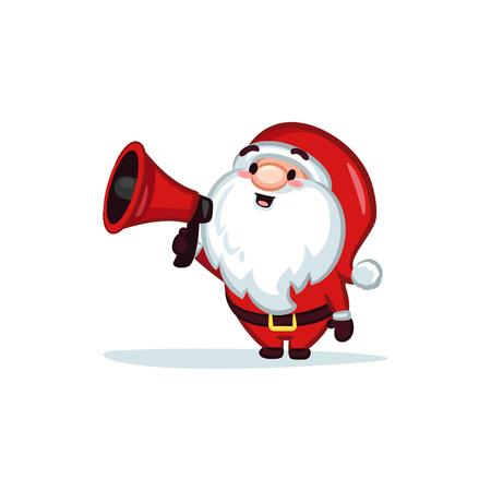 Vector Santa Claus Holding a Megaphone