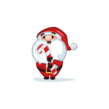Christmas illustration - Santa Claus holding a candy cane.