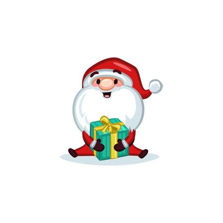 Christmas Vectors - Santa Claus Holding a Gift