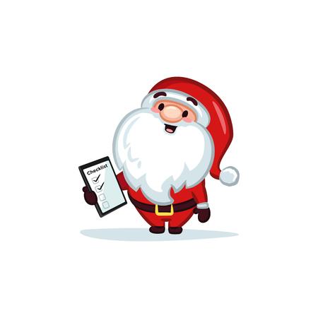 Christmas Vectors - Santa Claus Holding a Checklist 矢量图像